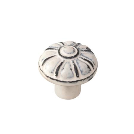 Pomo hierro envejecido, patina blanco, 35 mm