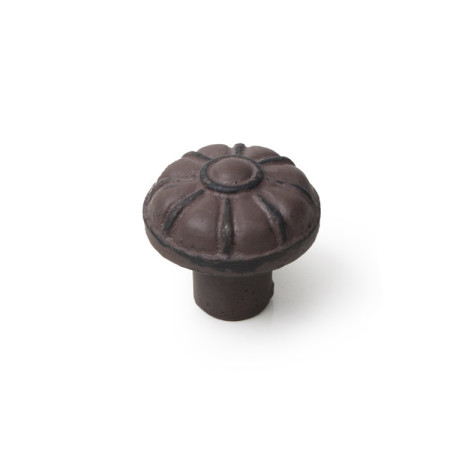Pomo hierro envejecido, patina marrón, 35 mm