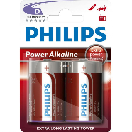 Pack 2 pilas LR20 alcalinas de Philips