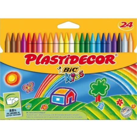 Pack 24 ceras de colores Plastidecor, Bic