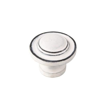 Pomo hierro envejecido, patina blanco, forma redonda, 31 mm