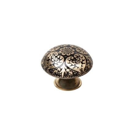 Pomo de latón decorado, tonos dorados, forma redonda, 37 mm