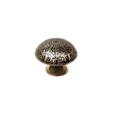 Pomo latón decorado, tonos dorados, forma redonda, 37 mm