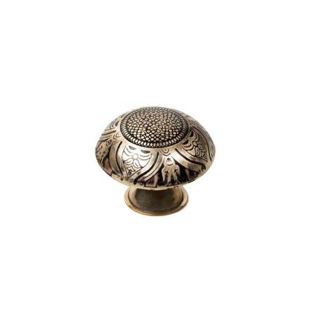 Pomo latón con decoración, tonos dorados, forma redonda, 37 mm