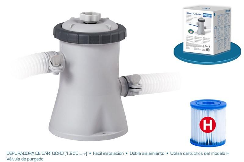 Depuradora de cartucho para piscina 1250 l h filtro tipo for Bombas para piscinas bricodepot