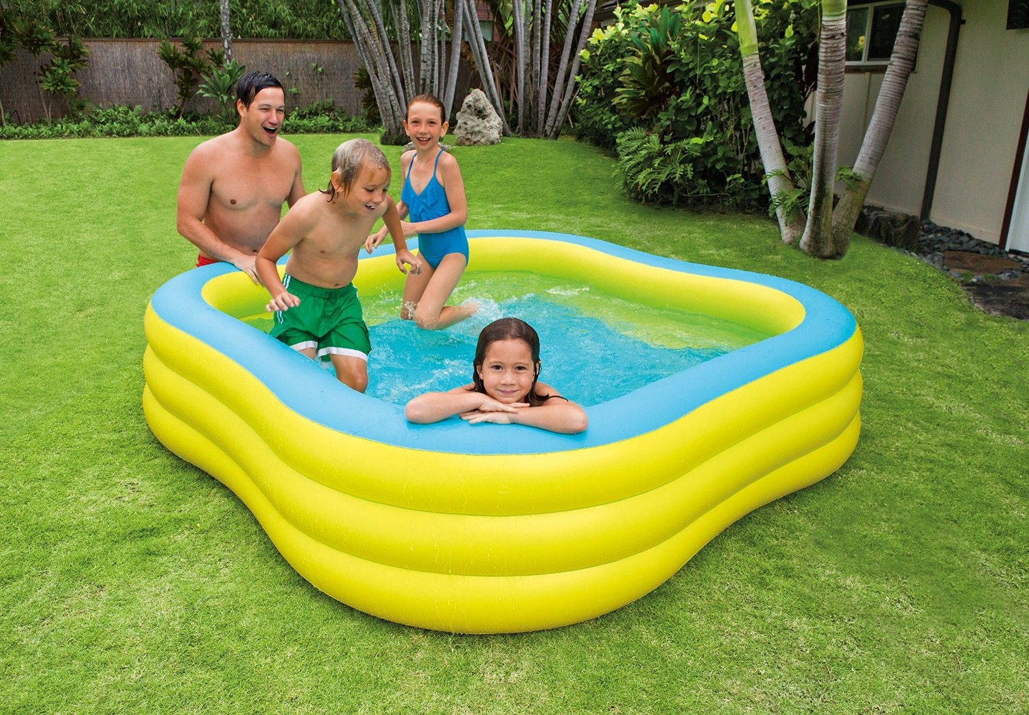 Piscina familiar hinchable forma cuadrada 229 x 229 x 56 for Piscina hinchable cuadrada