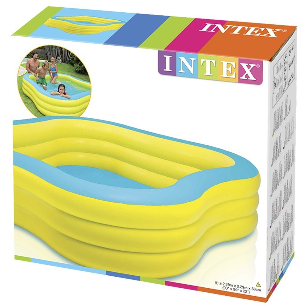 Piscina familiar hinchable forma cuadrada 229 x 229 x 56 for Alberca familiar intex