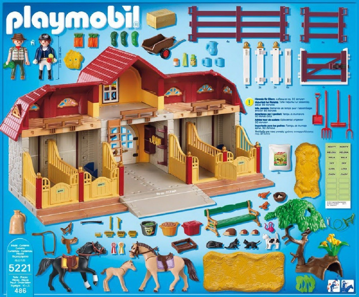 playmobil 5221 granja con establo y accesorios brico reyes. Black Bedroom Furniture Sets. Home Design Ideas