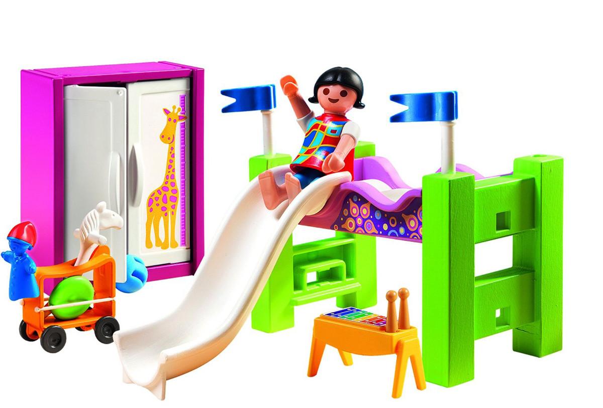 Playmobil 5579 dormitorio con litera tobog n y m s for Playmobil piscina con tobogan