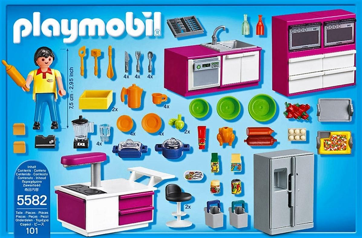 Playmobil 5582 cocina de dise o con menaje y m s brico for Casa moderna de lujo playmobil