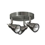 Plafón con 3 focos halógenos, serie Tabernas, níquel, GU10, DLS Diamond 029883003